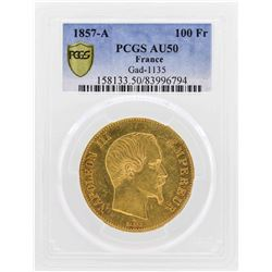 1857-A France 100 Francs Gold Coin Gad-1135 PCGS AU50