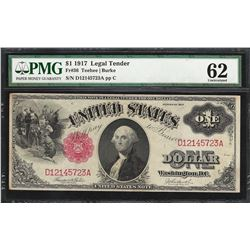 1917 $1 Legal Tender Note Fr.36 PMG Uncirculated 62