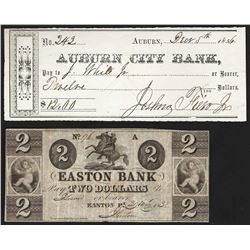 1838 $2 Easton Bank Obsolete Note & 1856 $12 Auburn City Bank Check