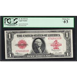 1923 $1 Legal Tender Note Fr.40 PCGS Choice New 63