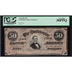 1864 $50 Confederate States of America Note T-66 PCGS Very Fine 30PPQ