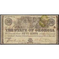 1863 Fifty Cents The State of Georgia Obsolete Bank Note