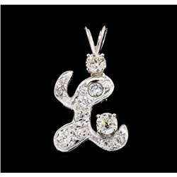 14KT White Gold 0.80 ctw Diamond Pendant