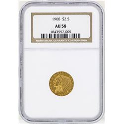 1908 $2 1/2 Indian Head Quarter Eagle Gold Coin NGC AU58