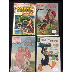 VINTAGE COMIC BOOK LOT (KORAK, JOHNNY APPLESEED, THE BEARSKIN SOLDIER, DAFFY DUCK)