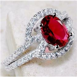 RUBY & WHITE TOPAZ 925 SOLID GENUINE STERLING SILVER RING (SIZE 8)