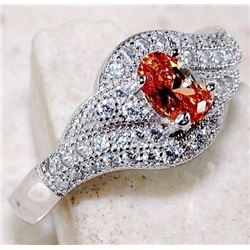 PADPARADSCHA SAPPHIRE & WHITE TOPAZ 925 SOLID STERLING SILVER RING (SIZE 9)