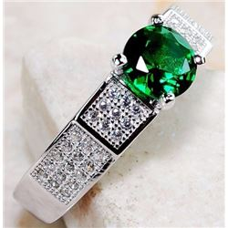 EMERALD QUARTZ & WHITE TOPAZ 925 SOLID GENUINE STERLING SILVER RING (SIZE 7)