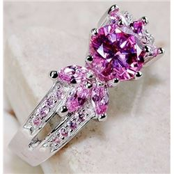 2 CT PINK SAPPHIRE 925 SOLID GENUINE STERLING SILVER RING (SIZE 7)