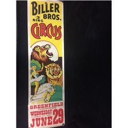 VINTAGE 1950's AUTHENTIC BILLER BROS CIRCUS POSTER