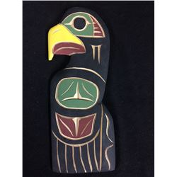 "NATIVE ART WOODEN ART ""EAGLE"" BY LAURENCE ANDREW (4"" X 12"")"