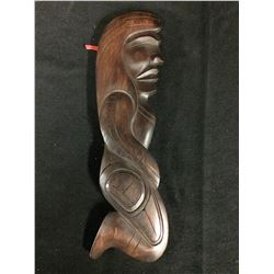 "NATIVE WOODEN CARVED ART ""CHIEF MAN"" BY FRED BAKER (SQUAMISH, BC) 4"" X 14"""