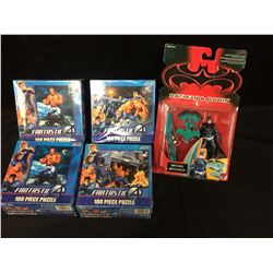 FANTASTIC FOUR PUZZLES & BATMAN ACTION FIGURE LOT (IN BOXES)