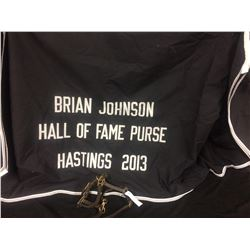 HORSE BLANKET & STIRRUP LOT (BRIAN JOHNSON HOF PURSE HASTINGS 2013)