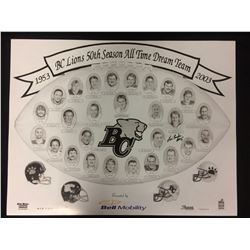 "BC LIONS 50TH SEASON ALL TIME DREAM TEAM PRINT AUTOGRAPHED BY LUIS PASAGLIA (16"" X 20"")"
