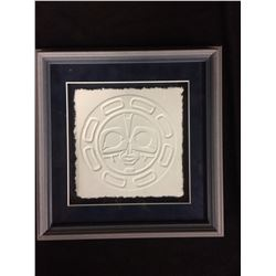 "ORIGINAL CAST PAPER FRAMED NATIVE ART (12"" X 12"")"