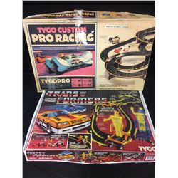 TYCO CUSTOM PRO RACING & TRANSFORMERS ELECTRIC RACING SET (IN BOXES)