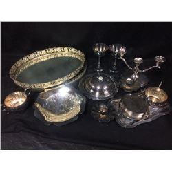VINTAGE SILVER PLATED TRAYS, MIRROR, CANDLE HOLDERS LOT