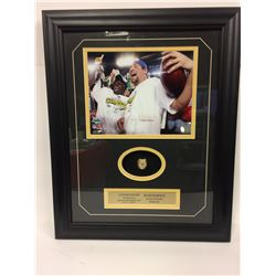 "SANTONIO HOLMES & BEN ROETHLISBERGER 16"" X 24"" FRAMED PHOTO W/ REPLICA SUPERBOWL RING DISPLAY"