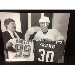 "JIM YOUNG AUTOGRAPHED 16"" X 20"" DISPLAY PRINT W/ WAYNE GRETZKY"