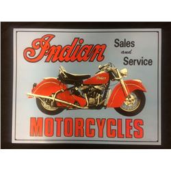 "INDIAN MOTORCYCLES TIN SIGN (20"" X 16"")"