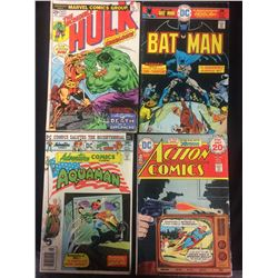 HULK #177, BATMAN #272, AQUAMAN #446, ACTION COMICS #442 COMIC BOOK LOT