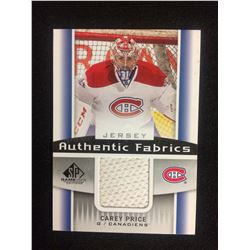 CAREY PRICE AUTHENTIC FABRICS JERSEY CARD