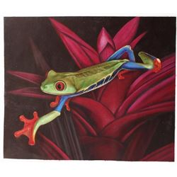 Signed Oil On Canvas Painting, Tropical Tree Frog