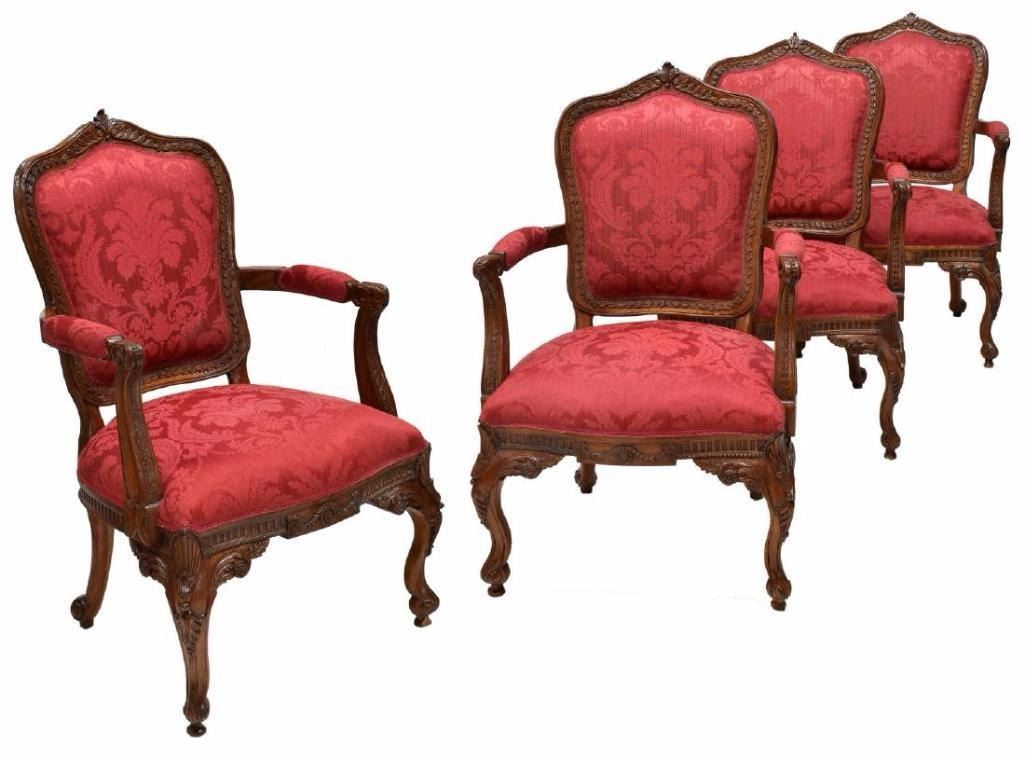 ... Image 2 : (4) Louis Xv Style Carved Back Arm Chairs ...