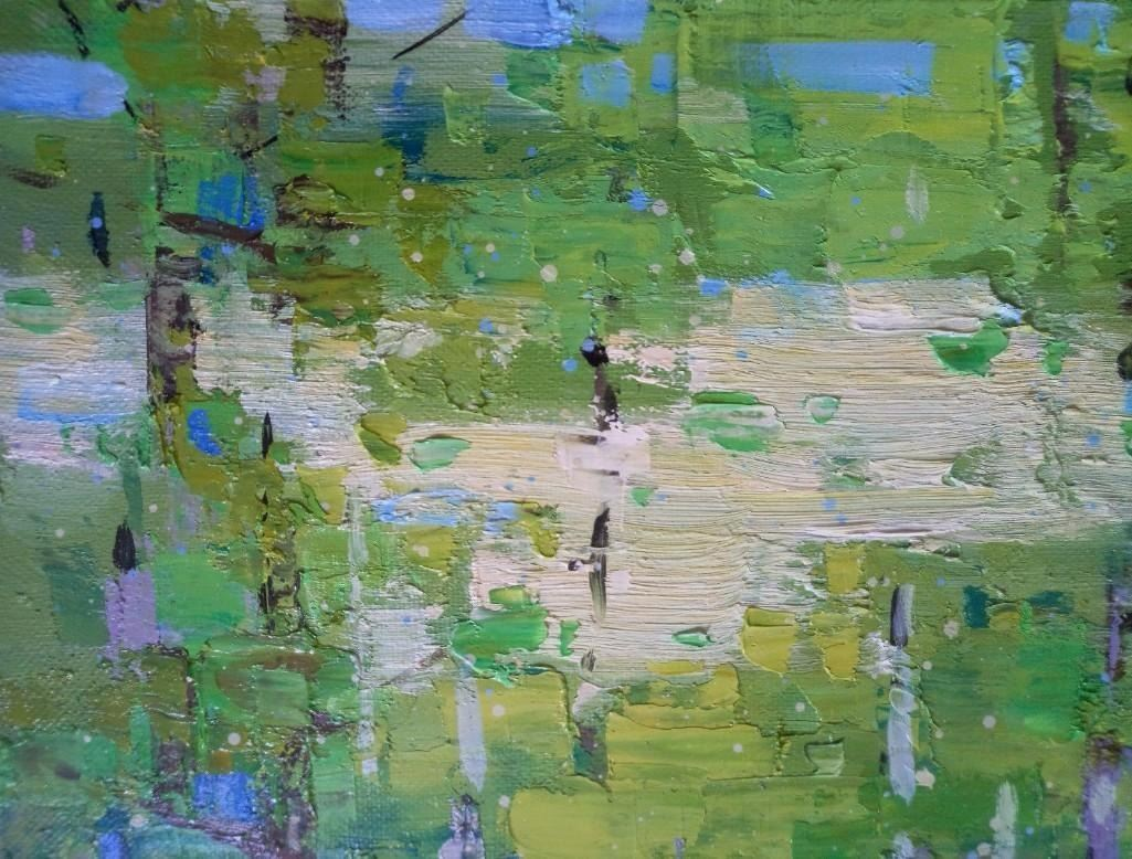 Impressionism oil painting green forest Plein Air Sunny Small Trees ...