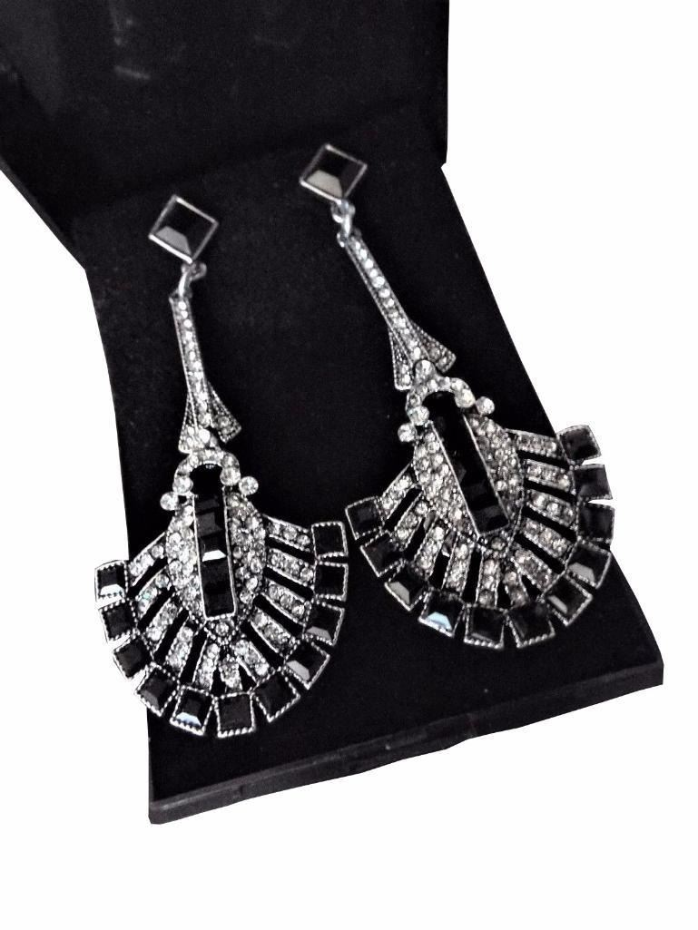 Image 2 Gift Boxed Long Silver Art Deco Vintage Black Red Crystal Paste Drop Earrings