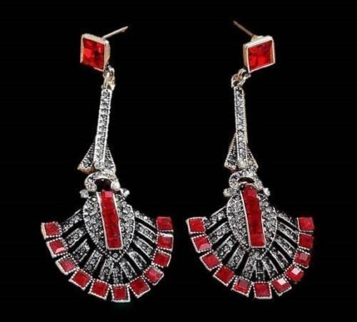 Image 4 Gift Boxed Long Silver Art Deco Vintage Black Red Crystal Paste Drop Earrings