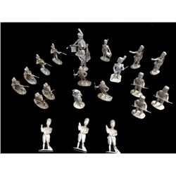 Set Of 21 Unpainted Lead Toy Soldiers