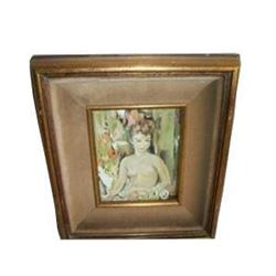 Nude Lady Oil Painting Hollywood Regency Chic Shabby Gilt Mid Century Paris Apt