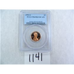 1992-S One Cent PCGS graded PR69 RD DC