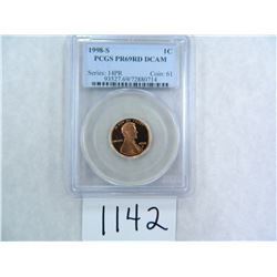 1998-S One Cent PCGS graded PR69 RD DC