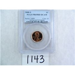 2000-S One Cent PCGS graded PR69 RD DC