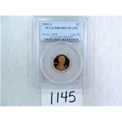 2002-S One Cent PCGS graded PR69 RD DC