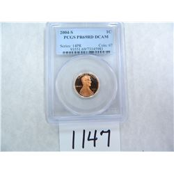 2004-S One Cent PCGS graded PR69 RD DC