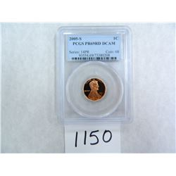 2005-S One Cent PCGS graded PR69 RD DC