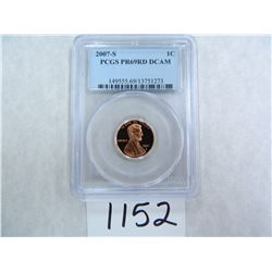 2007-S One Cent PCGS graded PR69 RD DC