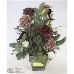 BRONZE CERAMIC SILK FLOWER TABLE ARRANGEMENT