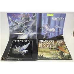 LOT OF 4 FANTASY CALENDARS  1987,88,90,94