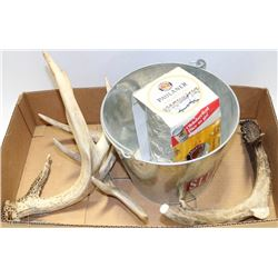 BOX W/3 ANTLER SHEDS, BEER BUCKET, NEW