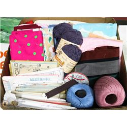 LARGE BOX OF FABRICS, NEW KNITTING &