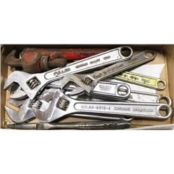 "BOX OF FIVE 8"" CRESCENT WRENCHES TWO 6"" CRESCENT"