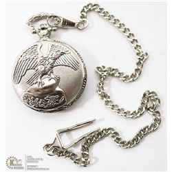 SILVER COLORED EAGLE POCKET WATCH WITH CHAIN