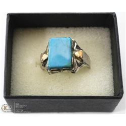 MENS RING WITH BLUE STONE SIZE 13