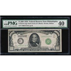 1928 $1000 Philadelphia Federal Reserve Note PMG 40