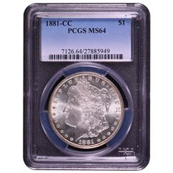 1881-CC $1 Morgan Silver Dollar Coin PCGS MS64